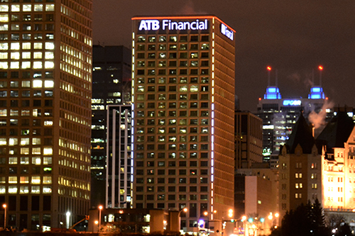 ATB Financial Downtown Edmonton Building - Blanchett Neon