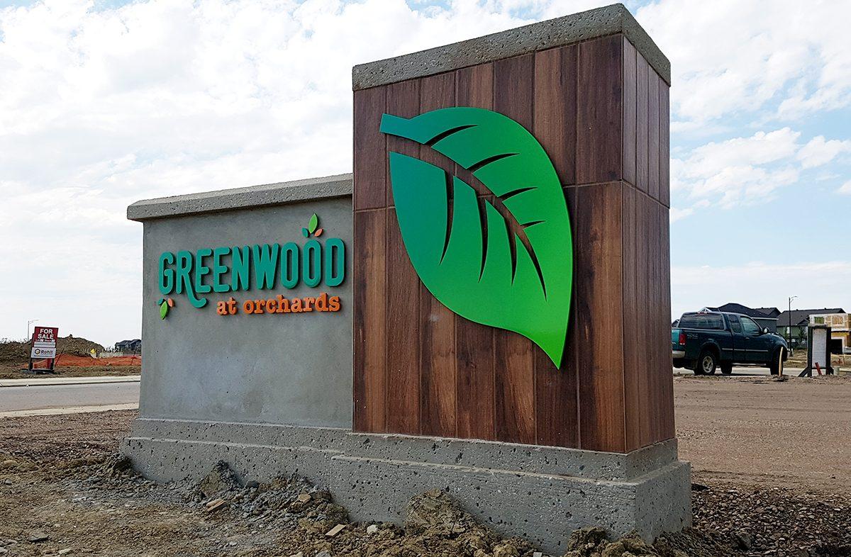 Greenwood at Orchards Development Entrance Sign Edmonton